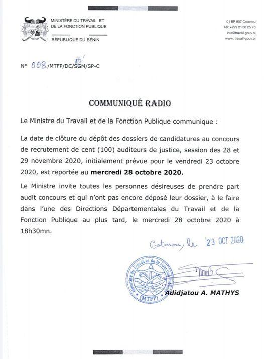 Concours de recrutement des auditeurs de justice : Prorogation de la date du dépôt des dossiers de candidatures