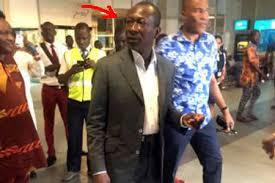Patrice Talon lors de son retour d'exil à l'aéroport de Cotonou