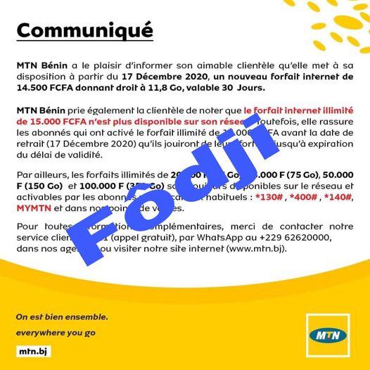 Suppression du forfait internet illimité de 15000 Fcfa : L'artiste Siano Babassa  critique MTN Bénin et parle d'un « foutage de Gueule »