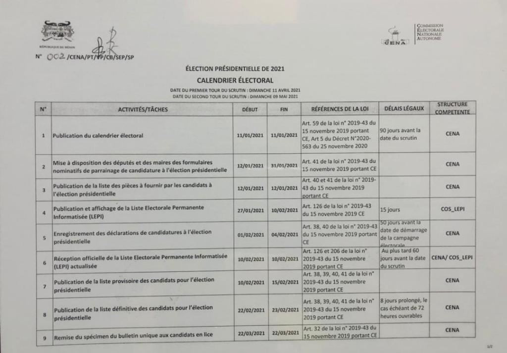 calendrier électoral pour la présidentielle 2021 au Bénin