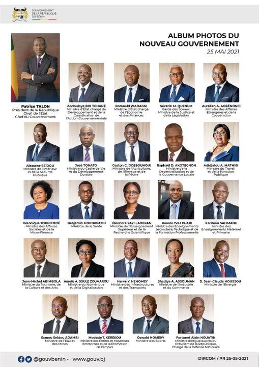 ALBUM PHOTO des membres du nouveau gouvernement du Président Patrice TALON